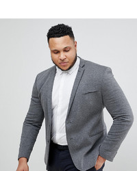 ASOS DESIGN Plus Super Skinny Blazer In Charcoal Jersey