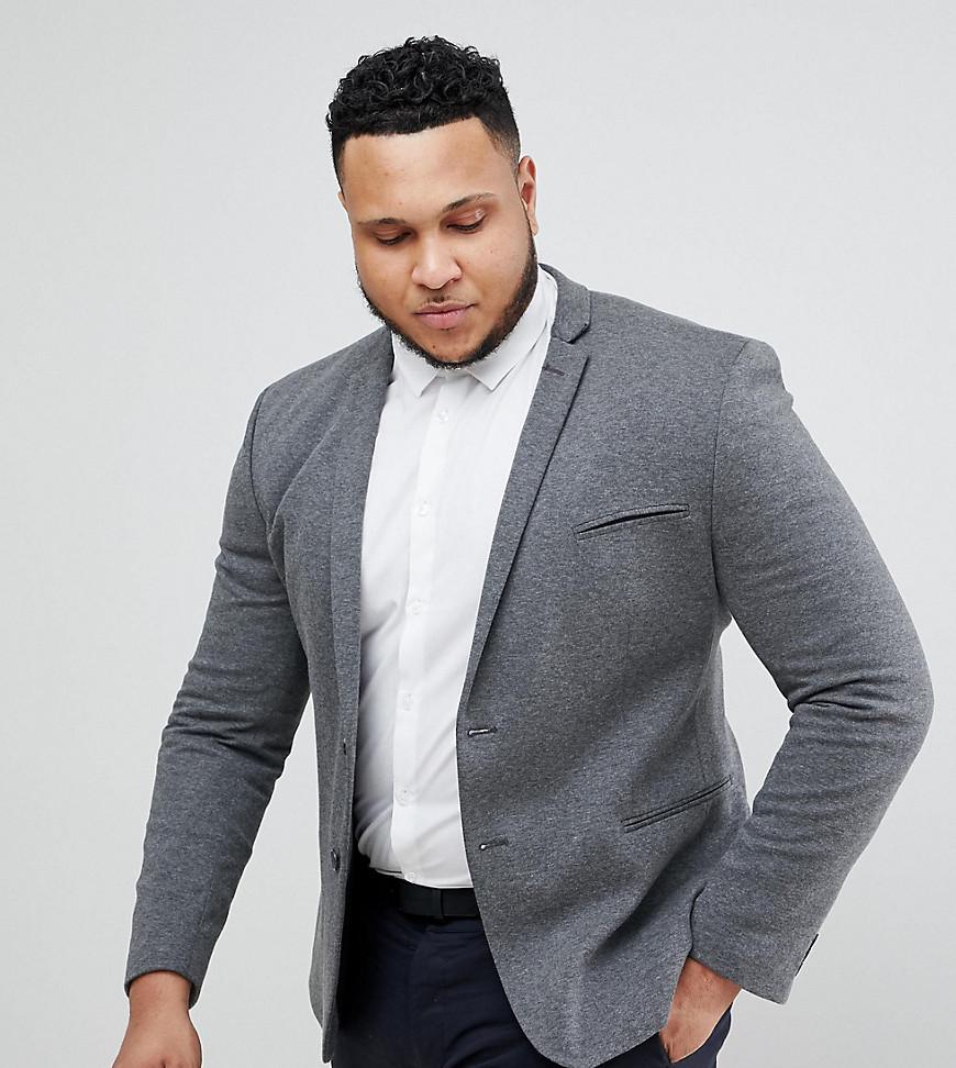 ASOS DESIGN Plus Super Skinny Blazer In Charcoal Jersey