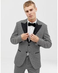 Jack & Jones Premium Slim Fit Tuxedo Blazer With Velvet Lapel In Grey Black