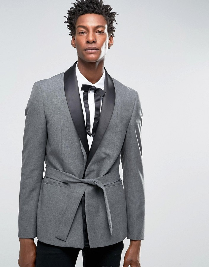 Asos Skinny Smoking Jacket In Gray Where To Buy How To Wear