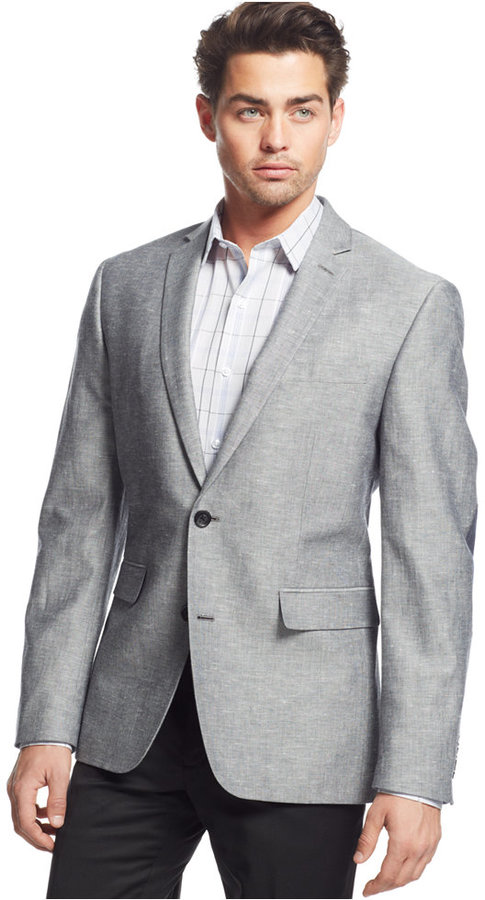 Bar III Slim Fit Light Grey Elbow Patch Sport Coat | Where to buy ...