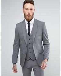 New Look Slim Suit Jacket In Grey