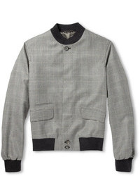 Alexander McQueen Prince Of Wales Check Cashmere Bomber Jacket