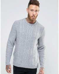 Asos Cable Sweater In Light Gray