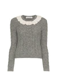 Philosophy di Lorenzo Serafini Lace Collar Wool Blend Sweater