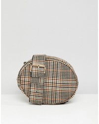Monki Check Quilted Belt Bag In Brown