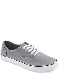 Grey Canvas Low Top Sneakers
