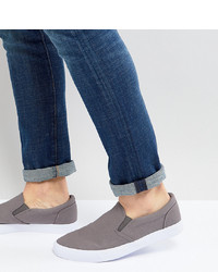 ASOS DESIGN Wide Fit Slip On Trainers In Grey Canvas
