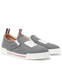 Thom Browne Logo Appliqud Wool Slip On Sneakers