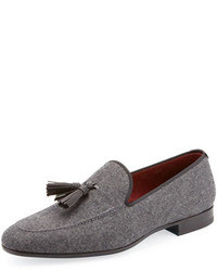 Grey Canvas Tassel Loafers