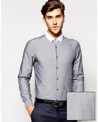 Asos Brand Smart Chambray Shirt In Long Sleeve With Contrast Collar