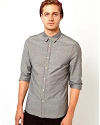 Asos Chambray Shirt In Long Sleeve