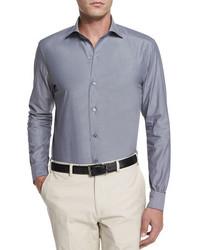 Solid chambray long sleeve shirt dark gray medium 790728
