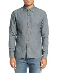 Trim fit vintage chambray linen blend sport shirt medium 790740
