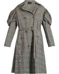 Prince of wales checked trench coat medium 1315609