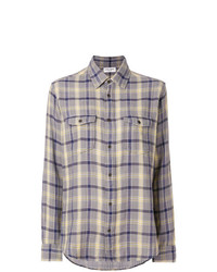Saint Laurent Oversized Checked Flannel Shirt