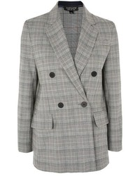 Grey Check Double Breasted Blazer