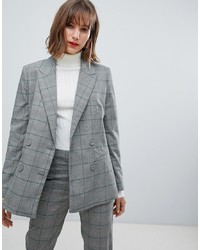 Mango Check Blazer Co Ord In Grey