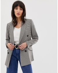 Mango Double Breasted Check Blazer In Brown