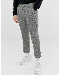ASOS DESIGN Slim Crop Smart Trousers In Grey Micro Check With Blue Stripe