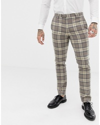 Twisted Tailor Super Skinny Suit Trouser With Stone Check
