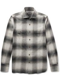 Grey Check Flannel Long Sleeve Shirt