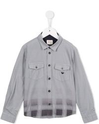 Armani Junior Faded Check Print Shirt