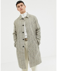 Selected Homme Bonded Cotton Trench Coat In Check