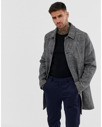 ASOS DESIGN Wool Mix Trench Coat In Grey Check