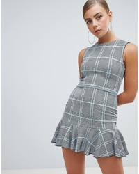 Missguided Peplum Hem Mini Dress In Check