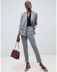 Warehouse Slim Leg Trousers In Grey Check