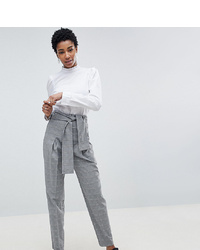 Asos Tall Asos Design Tall Tailored Tapered Check Trouser With Obi Self Tie And Exposed Zip