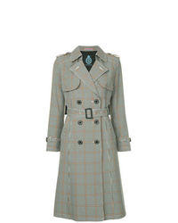 GUILD PRIME Check Double Breasted Trench Coat