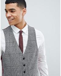 MOSS BROS Moss London Skinny Waistcoat In Check