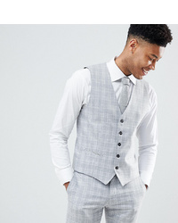Selected Homme Skinny Fit Waistcoat In Grey Check