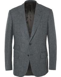 Kingsman grey slim fit prince of wales checked wool blazer medium 1343054