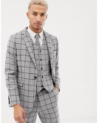 ASOS DESIGN Skinny Suit Jacket In Grey Wool Mix Windowpane Check
