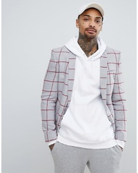 ASOS DESIGN Super Skinny Blazer In Light Grey Wool Mix With Red Check