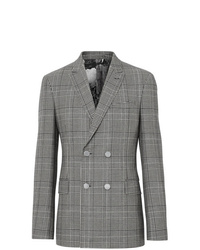 Grey Check Wool Double Breasted Blazer