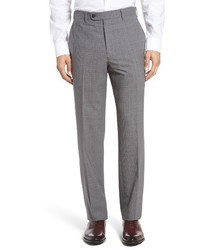 JB Britches Torino Flat Front Check Wool Trousers