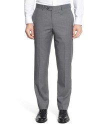 Nordstrom Shop Flat Front Check Wool Trousers