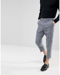 Asos Tapered Smart Pants In 100% Wool Harris Tweed In Light Gray Check