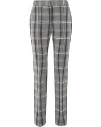Grey Check Wool Skinny Pants