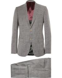 Grey monaco slim fit checked wool suit medium 405310