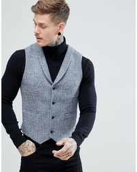 ASOS DESIGN Asos Slim Waistcoat Harris Tweed 100% Wool Light Grey Check