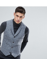 ASOS DESIGN Asos Tall Slim Waistcoat In Harris Tweed 100% Wool Light Grey Check