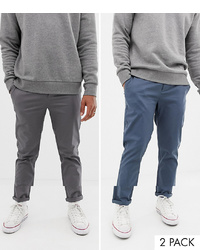 ASOS DESIGN 2 Pack Slim Chinos In Dark Blue Grey