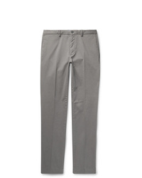 Incotex Anthracite Slim Fit Stretch Cotton Twill Trousers