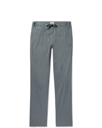 Hartford Dark Grey Troy Slim Fit Cotton Drawstring Trousers