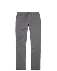 James Perse Grey Slim Fit Cotton Blend Twill Trousers